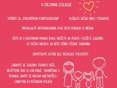 Izazovi izolacije i saveti za roditelje i pružaoce brige